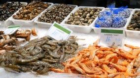 海鲜捉蟹龙虾乌贼虾小龙虾牡蛎在鱼市La Boqueria西班牙,巴塞罗那的淡菜贝壳 股票录像