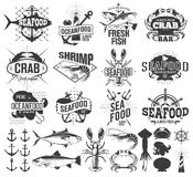 海鲜标签、商标和例证 免版税库存照片