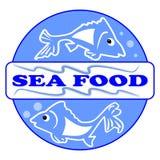 海鲜标签或广告牌与两部逗人喜爱的鱼动画片 设计在蓝色圈子用题字海鲜 10 eps 有用 库存图片