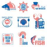 海鲜标签 库存例证