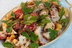 海鲜沙拉是健康普遍的纤巧食物 库存照片