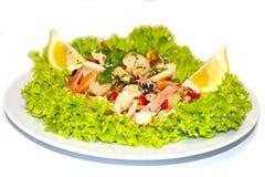 海鲜沙拉柠檬意大利食物 库存照片