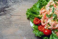 海鲜沙拉用虾 库存照片