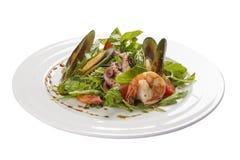 海鲜沙拉 一个传统西班牙盘 免版税库存照片