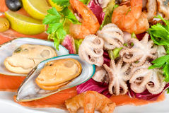海鲜沙拉 库存照片
