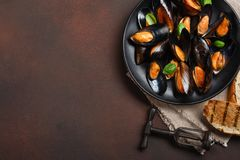 海鲜淡菜和蓬蒿叶子在一个黑色的盘子有拔塞螺旋的,面包切片,粗麻布在生锈的背景 免版税库存照片