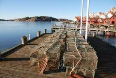 海鲜的笼子在瑞典的西海岸 库存照片