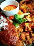 海鲜盛肉盘用米和辣调味汁 库存照片