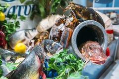 海鲜盛肉盘 图库摄影