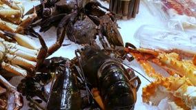 海鲜移动的虾伟大的龙虾和螃蟹在逆市场上,海鲜在市场La Boqueria在巴塞罗那 股票视频