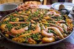 海鲜肉菜饭 免版税图库摄影