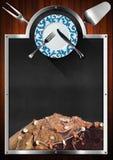 海鲜菜单的黑板 库存照片