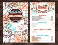 海鲜菜单设计在剪影样式的 免版税库存图片