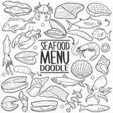 海鲜菜单食物传统乱画象手凹道集合 免版税库存照片