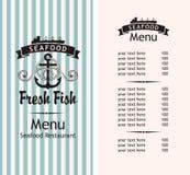 海鲜菜单 向量例证