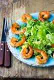 海鲜虾在蓝色板材的莴苣沙拉 库存照片