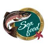 海鲜餐馆的标志 免版税库存图片