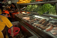 海鲜餐馆,古晋,婆罗洲,马来西亚 库存照片