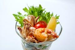 海鲜鸡尾酒-油煎的虾和章鱼 库存照片