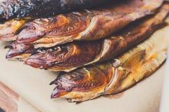 海鲜,鳟鱼鱼被烤在烤肉 库存照片