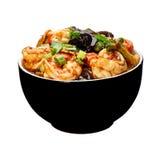 海鲜 与菜的虾 免版税图库摄影