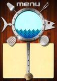 海鲜-菜单模板 免版税库存照片