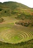 海鳗印加废墟,在Maras考古学站点村庄的高原的露台的圆环,库斯科地区,秘鲁 库存照片
