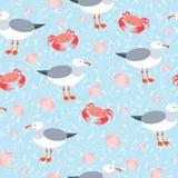 海鸥和螃蟹无缝的样式 免版税库存照片