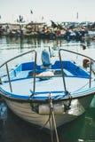 海鸥有蓝色小船的基于在皮兰小游艇船坞,斯洛文尼亚 库存图片