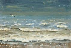 海,在风暴起泡沫的波浪和海鸥在水后 在帆布的绘画油 皇族释放例证