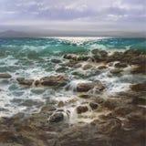海,手工制造绘画 免版税库存图片
