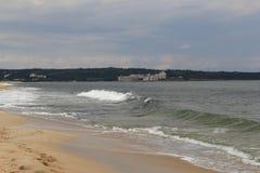 海,沙子,波浪,年2014年 免版税库存照片