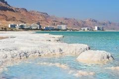 死海,以色列的典型的风景 免版税图库摄影