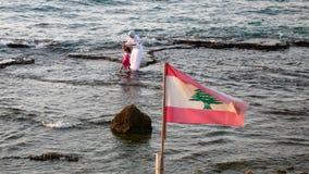 海滩。贝鲁特。黎巴嫩 图库摄影