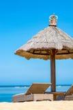 海滩与躺椅的太阳树荫 免版税库存图片