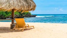 海滩与躺椅的树荫小屋 免版税库存照片