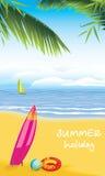 海滩休闲。暑假 免版税库存照片