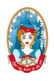 海洋佣人-在白色隔绝的纹身花刺例证 免版税库存照片