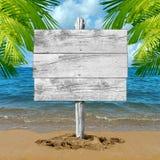 海滩假期空白标志 库存照片