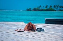 海滩假期-蜜月夫妇 库存照片