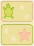 海滩元素,乌龟,沙子,海星的图象 库存图片