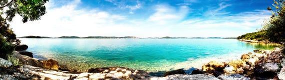 海滩克罗地亚全景 库存照片