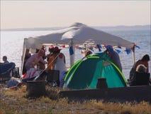 海滩党眺望台帐篷 股票视频