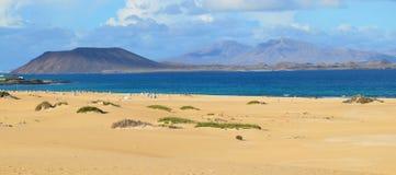 海滩全景在费埃特文图拉岛加那利群岛 免版税库存照片