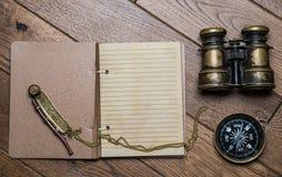 海洋冒险家的笔记 免版税图库摄影