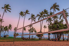 海滩净掌上型计算机沙子排球 免版税图库摄影