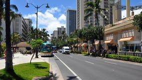 海滩前的威基基,夏威夷 免版税库存图片