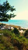 海滩前的密歇根湖 库存照片