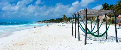 海滩加勒比全景 图库摄影