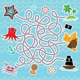 海洋动物,小船海盗 逗人喜爱的海反对汇集学龄前孩子的迷宫比赛 向量 免版税图库摄影